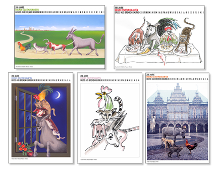 Postkarten zum 200jährigen Jubiläum der Bremer Stadtmusikanten